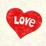 Heart symbol with love word on old paper. Royalty Free Stock Photography