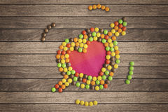 Heart symbol made of candies Royalty Free Stock Image