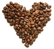 Heart symbol made from coffee beans Royalty Free Stock Image
