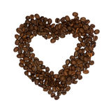 Heart symbol made of coffee beans isolated Stock Image