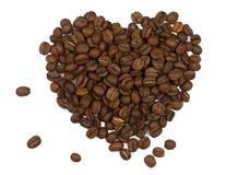 Heart symbol made of coffee grains Royalty Free Stock Photos
