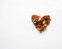 Heart symbol made of dried fragrant flowers and leaves Royalty Free Stock Photo