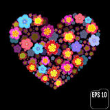 Heart symbol made of flovers on black background with 3d effect. Vector Royalty Free Stock Photography