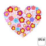 Heart symbol made of flovers on white background with 3d effect. Vector Stock Image