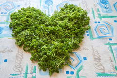 Heart symbol, made from greenery. Is on a table. Symbol of a healthy wholesome food. Wide angle, close up Stock Photography