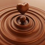 Heart symbol made of liquid chocolate Royalty Free Stock Photo