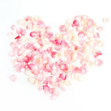 Heart symbol made of pink rose petals Royalty Free Stock Image