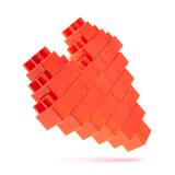 Heart symbol made of toy bricks Stock Images