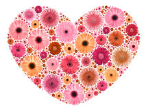 Heart symbol from motley flowers on white Stock Photography