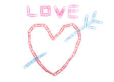 Heart symbol from paper clips Royalty Free Stock Image