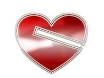 Heart symbol with plastic and metal Stock Images