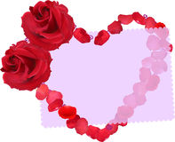 Heart symbol from red rose flowers and petals on white Stock Photos
