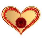 Heart symbol with ruby gems. Golden heart with ruby gems isolated on a white background Stock Image