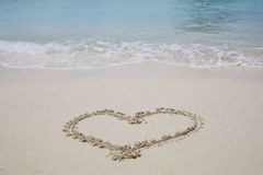 Heart Symbol on sand beach Royalty Free Stock Photo