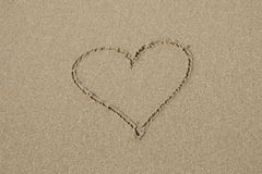 A heart symbol on the sandy beach Stock Photography