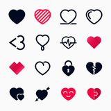 Heart symbol set for Valentines Day. Vector illustration Royalty Free Stock Images