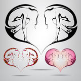 Heart symbol with the silhouette of a girl inside. vector illust Royalty Free Stock Images