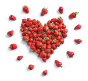 Heart symbol from strawberry isolated on white background. Royalty Free Stock Images