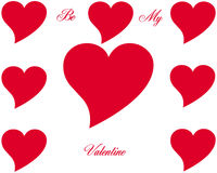 Heart symbol and text. Red heart symbol and text  Be my Valentine Royalty Free Stock Images