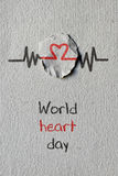 Heart symbol and the text world heart day Stock Images