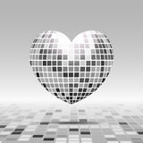 Heart symbol with texture disco ball. In gray color isolated on perspective background Royalty Free Stock Image