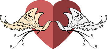 Heart symbol with two fantasy birds Stock Image
