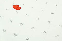 Heart symbol for valentine's day. Heart symbol on calendar for valentine's day Stock Photo