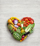 Heart symbol. Vegetables diet concept. Royalty Free Stock Image