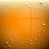 Heart Symbol on Wet Beer Glass Stock Photography