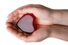 Heart symbol in woman's hands. Isolated at the white background Stock Photography