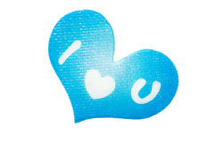 Heart with symbols. Blue paper heart with symbols I love you Stock Photography