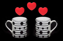 Heart symbols and cups Royalty Free Stock Photography