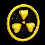Heart symbols forming a radiation alert sign. On black stock illustration