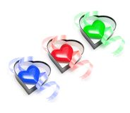 Heart Symbols in Gift Boxes Royalty Free Stock Photography
