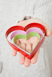 Heart symbols held in hand Royalty Free Stock Photos