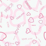 Heart symbols with love passion feeling text seamless pattern. Vector illustration Stock Image