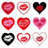 vector heart symbols set with kiss Stock Photos