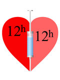Heart, syringe 12h. Syringe twelve hours and heart on a white background Stock Photography