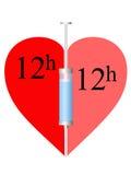 Heart, syringe 12h. Syringe twelve hours and heart on a white background royalty free illustration