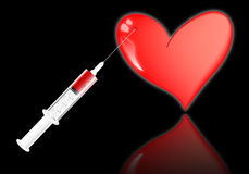 Heart with a syringe Royalty Free Stock Photos