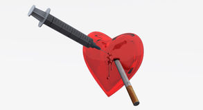 Heart and syringe and  cigarette Stock Images