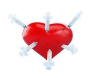 Heart syringe stabbing. On a white background Stock Photo