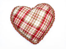Heart with tablecloth texture. At white Royalty Free Stock Photos