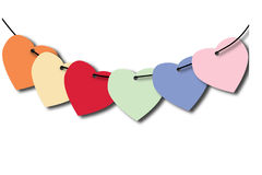 Heart tag. On white background, with connecting lines stock illustration