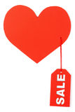 Heart with a tag sale. On a white background Royalty Free Stock Image