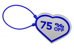 Heart tag with sign discount 75 % off. 3D rendering. Heart tag with sign discount 75 % off,  on white background. 3D rendering Royalty Free Stock Image