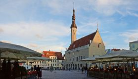 The heart of Tallinn in Old Town with city hall on ewening Royalty Free Stock Photography