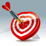 Heart Target. Heart Shaped Darts Target with sticking Arrow. Vector Illustration Stock Photo