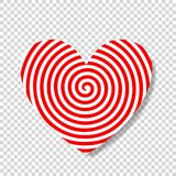 Hypnosis spiral in shape of heart. Heart target abstract concept. Happy Valentine`s Day vector illustration, icon, clip art on transparent background. Love aim vector illustration