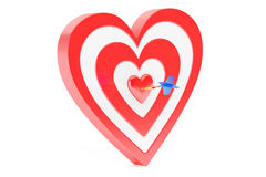 Heart target with arrow, 3D rendering. On white background Stock Image